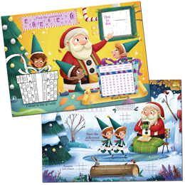 Santa Activity Pack that is loaded with goodies that come with colouring, maxe, dot-to-dot and more