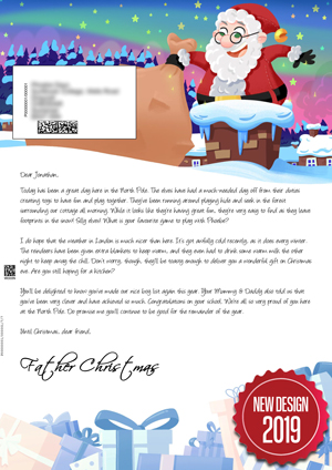 Santa heading down the chimney - Personalised Santa Letter Background