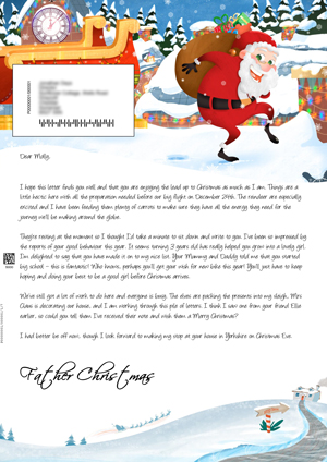 Santa on the roof delivering presents - Personalised Santa Letter Background