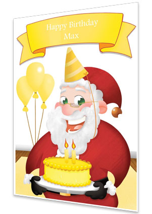 Yellow Personalised Birthday Card From Santa