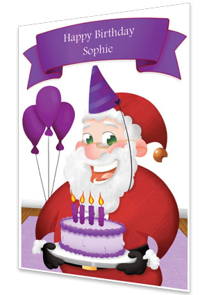 Purple Personalised Birthday Card From Santa