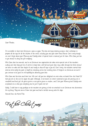 Santa Taking Off from House - Personalised Santa Letter Background