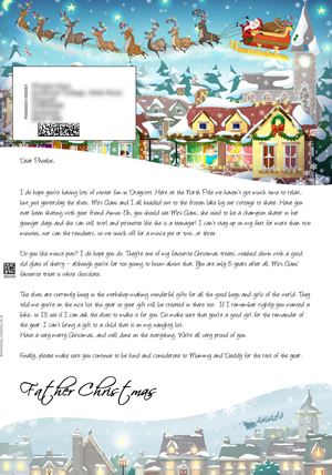 Santa High Flying Above Village - Personalised Santa Letter Background