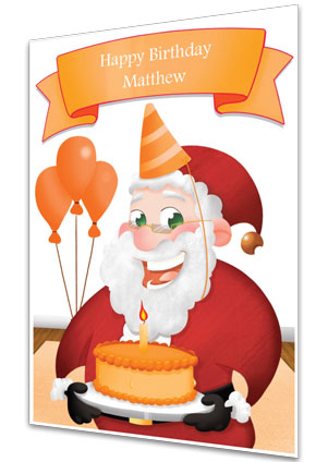 Orange Personalised Birthday Card From Santa