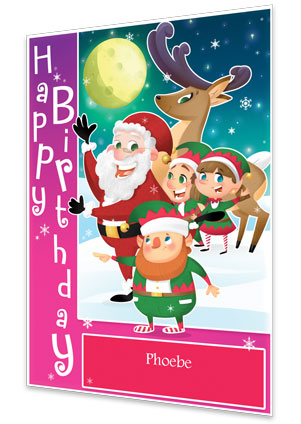 Pink Personalised Birthday Card From Santa