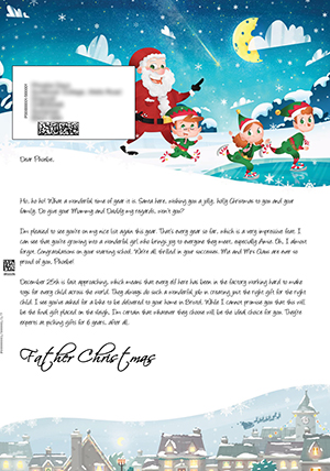 Santa outside with elves skating - Personalised Santa Letter Background