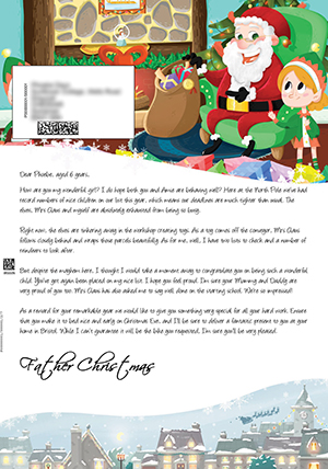 Santa in his Grotto with the elves - Personalised Santa Letter Background