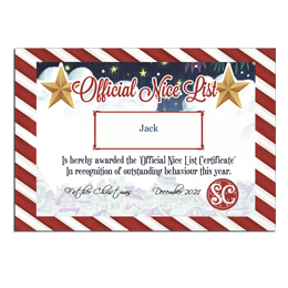 Every child deserves to receive a personalised Nice List Certificate